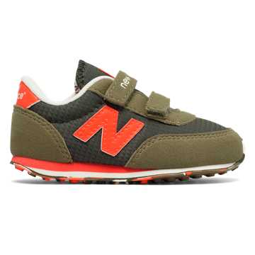 New Balance 410 Hook and Loop, Buffed Olive with Orange