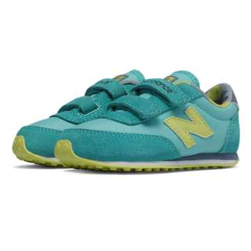 New Balance 410 Hook and Loop, Aqua with Yellow