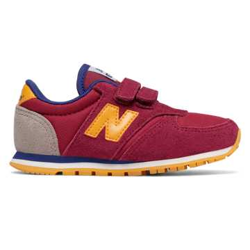 New Balance 420 Hook and Loop, Burgundy with Yellow