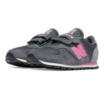 New Balance 420 Hook and Loop, Dark Grey with Pink Zing & Grey