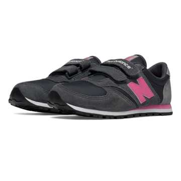New Balance 420 Hook and Loop, Dark Grey with Pink Zing & Grey