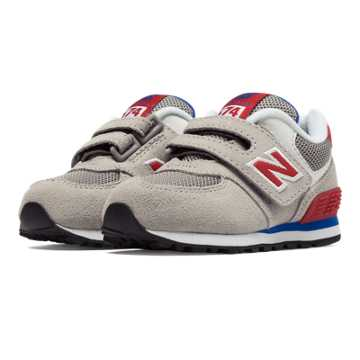 New Balance 574 Hook and Loop, Light Grey with Red & Blue