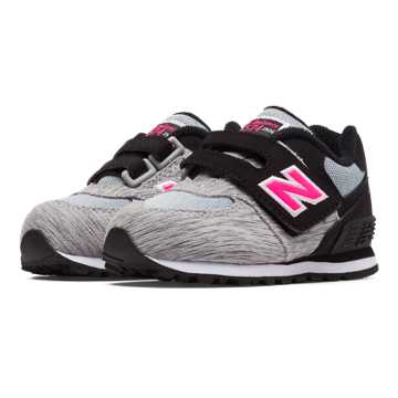 New Balance 574 Sweatshirt Hook and Loop, Silver Mink with Pink Zing & Black