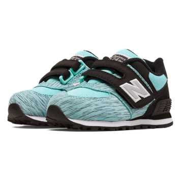 New Balance 574 Sweatshirt Hook and Loop, Aqua with Black