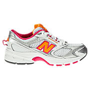 New Balance 553, White with Pink & Orange