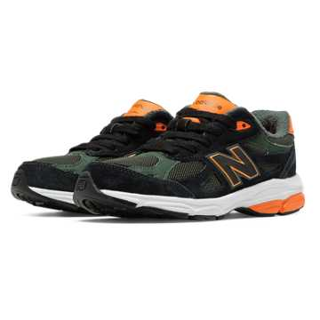 New Balance Jacket Pack 990v3, Black with Green & Orange