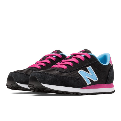 501 New Balance Kids Grade School Lifestyle Shoes - Black, Light Blue, Pink Zing (KL501BCY)