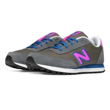 New Balance 501 New Balance, Grey with Acrylic Purple & Blue