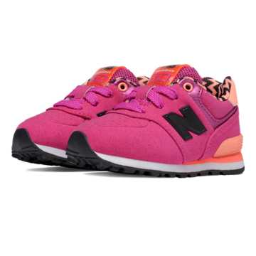 New Balance 574 Paint Chip, Pink Zing with Orange Clownfish