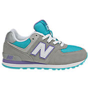 New Balance 574, Grey with Turquoise & Purple