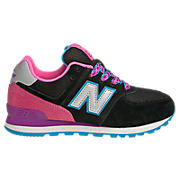 New Balance 574, Black with Pink & Purple