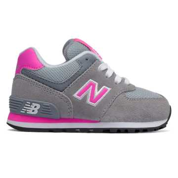 New Balance 574 New Balance, Grey with Fluorescent Pink