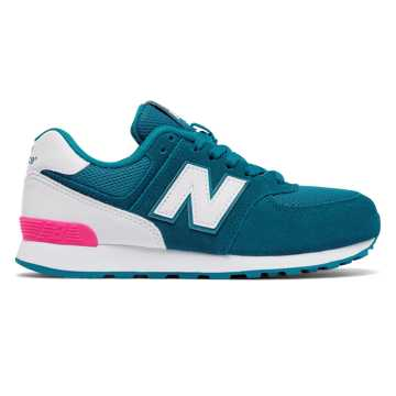 New Balance 574 High Visibility, Teal with White