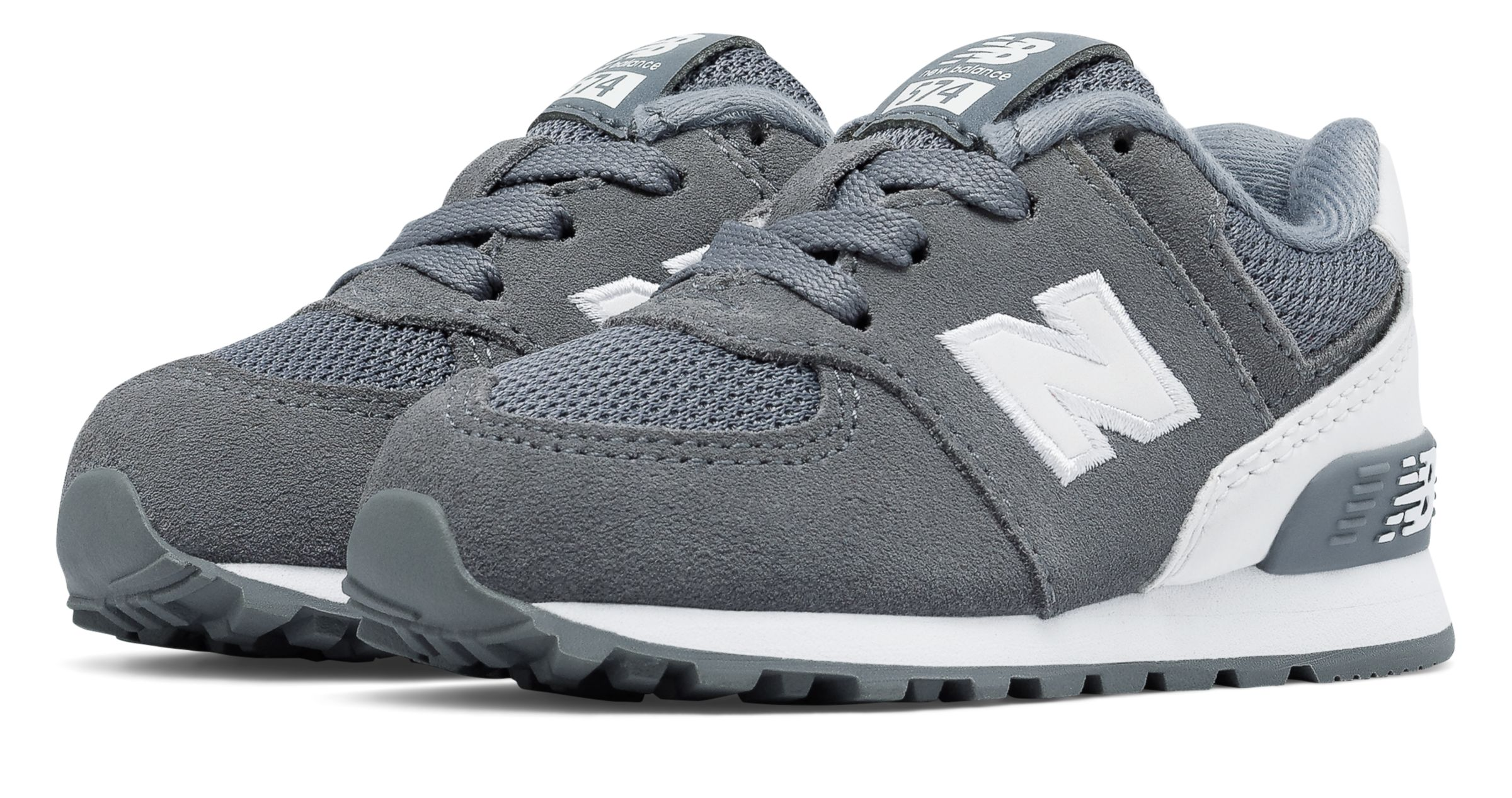 New Balance Kids 574 Hook And Loop High Visibility Shoes Grey