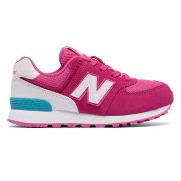 New Balance 574 High Visibility, Pink Flamingo with White