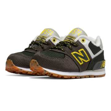 New Balance 574 Weekend Expedition, Defense Green with Yellow