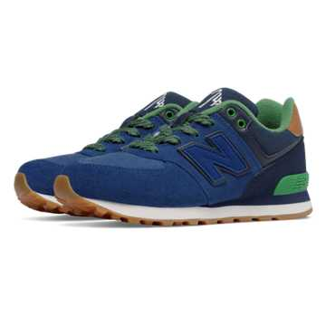 New Balance 574 Collegiate, Blue with Green