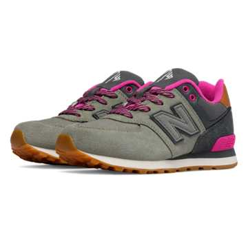 New Balance 574 Collegiate, Grey with Fuschia