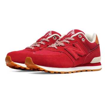 New Balance 574 Collegiate, Red with Yellow