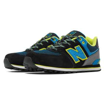 New Balance 574 Outside In, Black with Bolt & Yellow