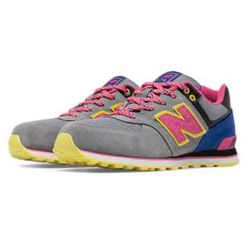New Balance 574 Outside In, Grey with Purple & Pink Glo