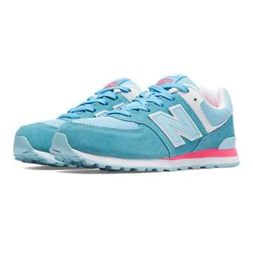 New Balance 574 New Balance, Light Blue with Pink Zing & White