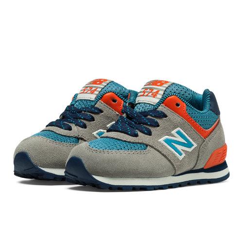 574 Out East Kids' Infant Lifestyle Shoes - Tan, Cadet Blue, Orange (KL574OTI)
