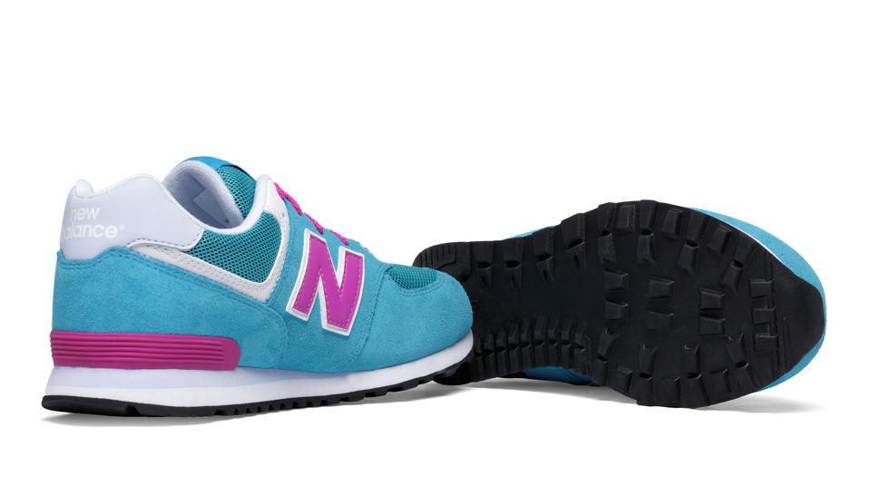 new balance kids classic 574 shoe - pink/blue