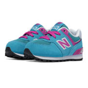 574 New Balance, Blue Atoll with Pink Glo