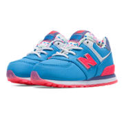 574 Street Beat, Light Blue with Pink Glo & White