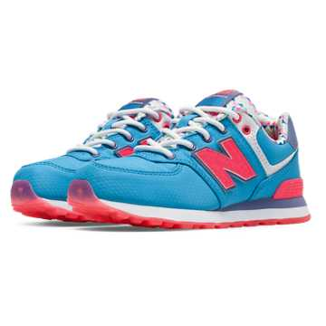New Balance 574 Street Beat, Light Blue with Pink Glo & White