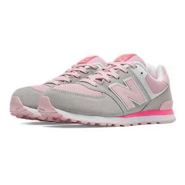New Balance 574 New Balance, Light Grey with Pink & Pink Zing