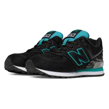 New Balance 574 Summer Waves, Black with Teal