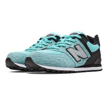 New Balance 574 Sweatshirt, Aqua with Black