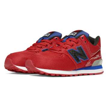 New Balance 574 Summer Waves, Red with Blue