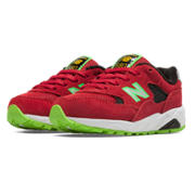580 New Balance, Red with Black & Lime Green