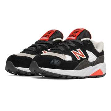 New Balance 580 Paper Lights, Black with White & Red