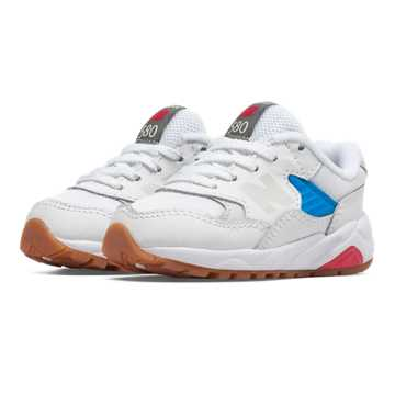 New Balance 580 New Balance, White with Bolt & Red