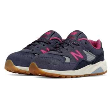 New Balance 580 Wanderlust, Dark Grey with Pink Zing