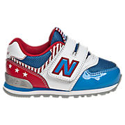 New Balance 574, White with Blue & Red