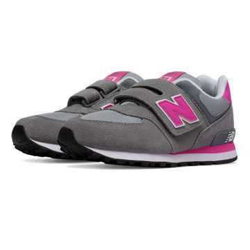New Balance 574 Hook and Loop, Grey with Fluorescent Pink