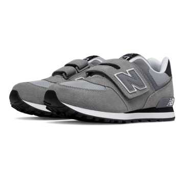 New Balance 574 Hook and Loop, Grey with Black