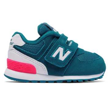 New Balance 574 High Visibility Hook and Loop, Teal with White