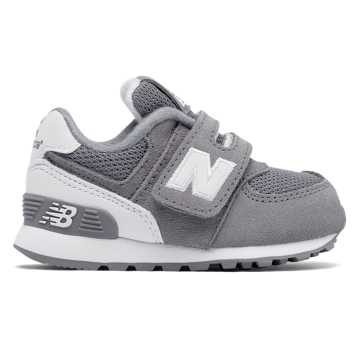 New Balance 574 High Visibility Hook and Loop, Grey with White