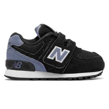 New Balance 574 Hook and Loop High Visibility, Black with White