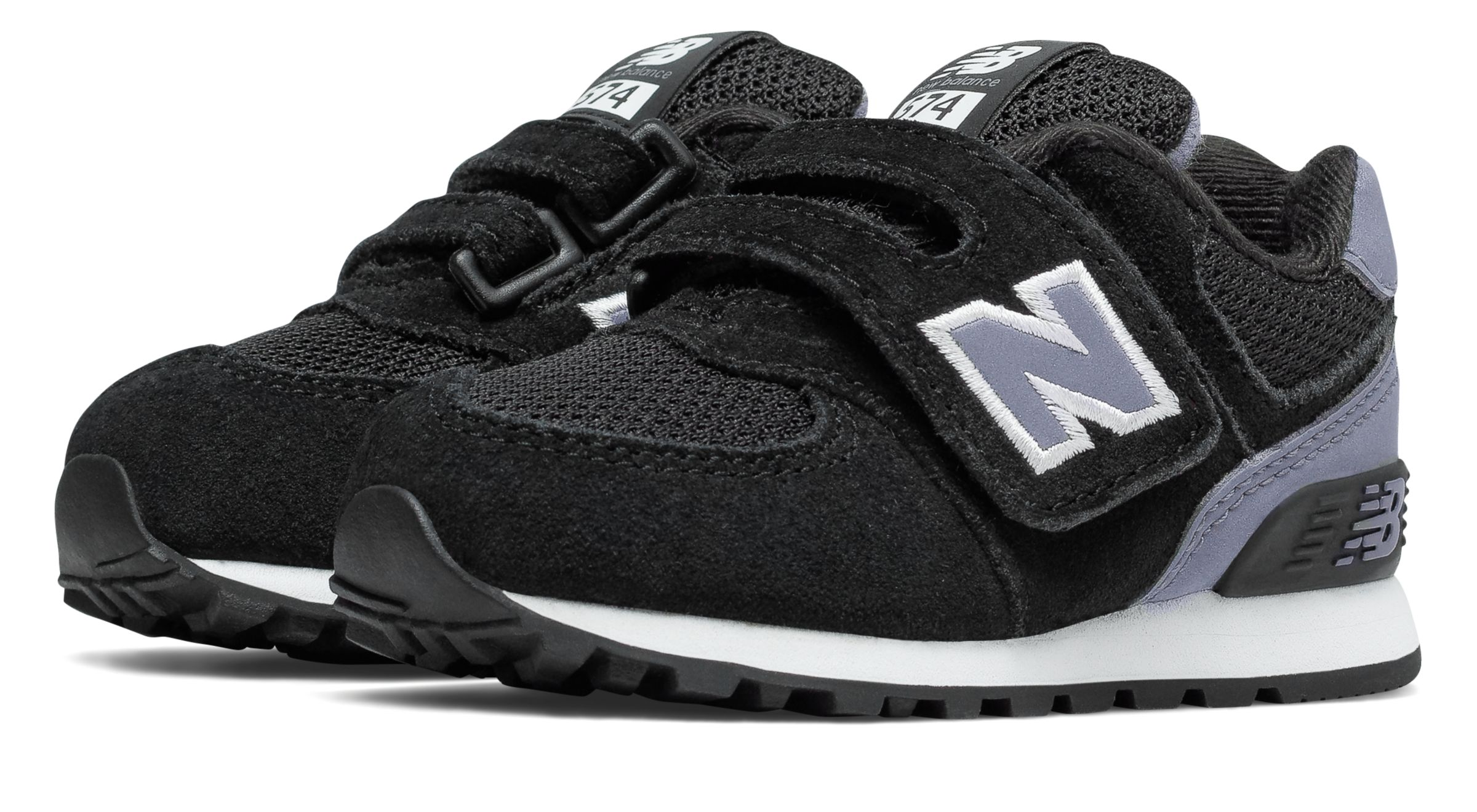 New Balance Kids 574 Hook And Loop High Visibility Shoes Black