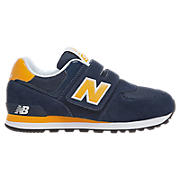 New Balance 574, Navy with Yellow