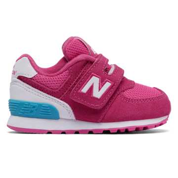New Balance 574 High Visibility Hook and Loop, Pink Flamingo with White