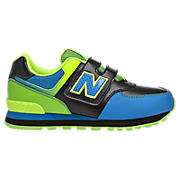 New Balance 574, Black with Blue Atoll & Green Gecko