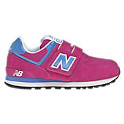 New Balance 574, Fuschia Red with Blue